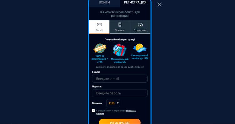 форма для регистрации на мобильном